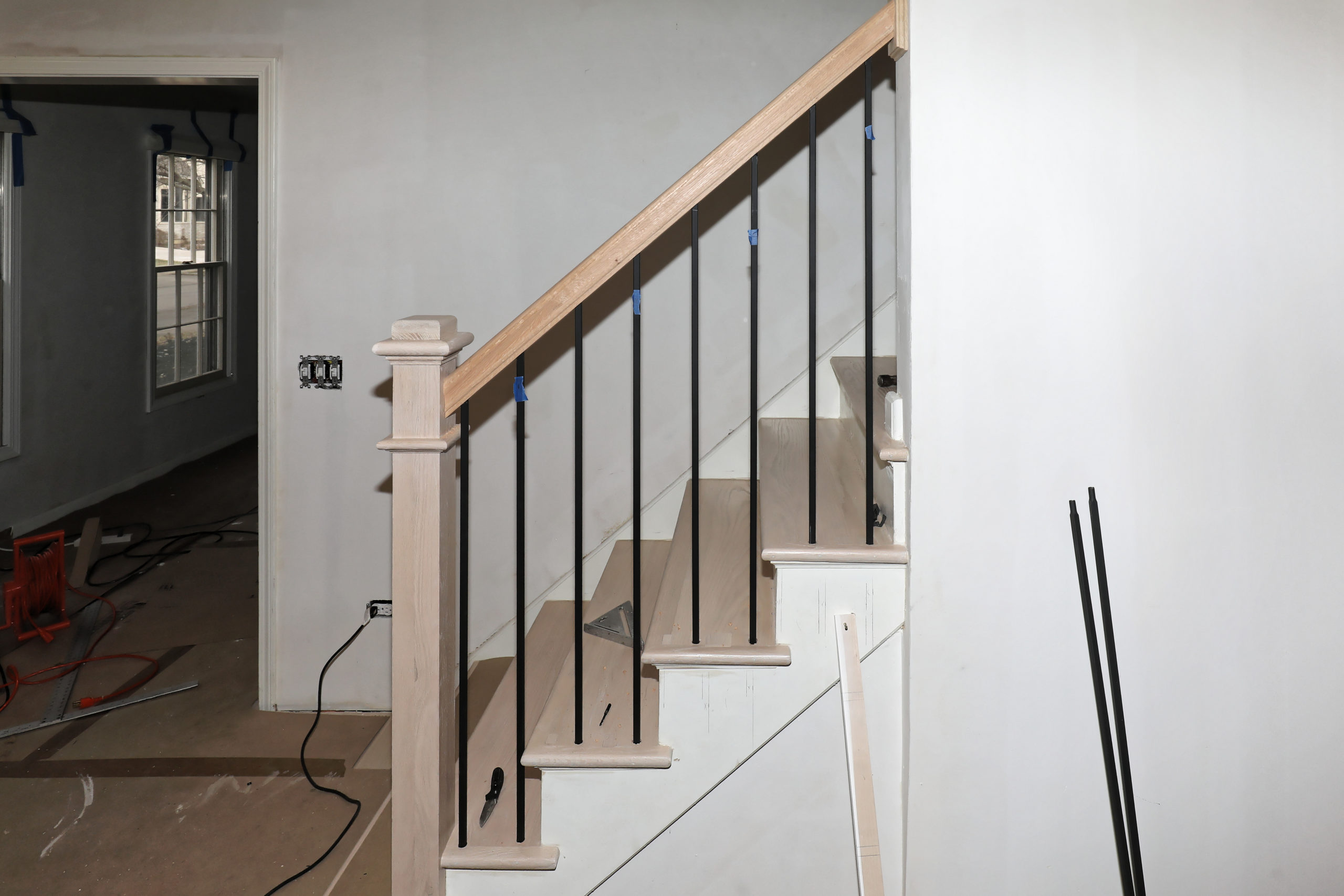 Cosmetic repair of an old staircase.