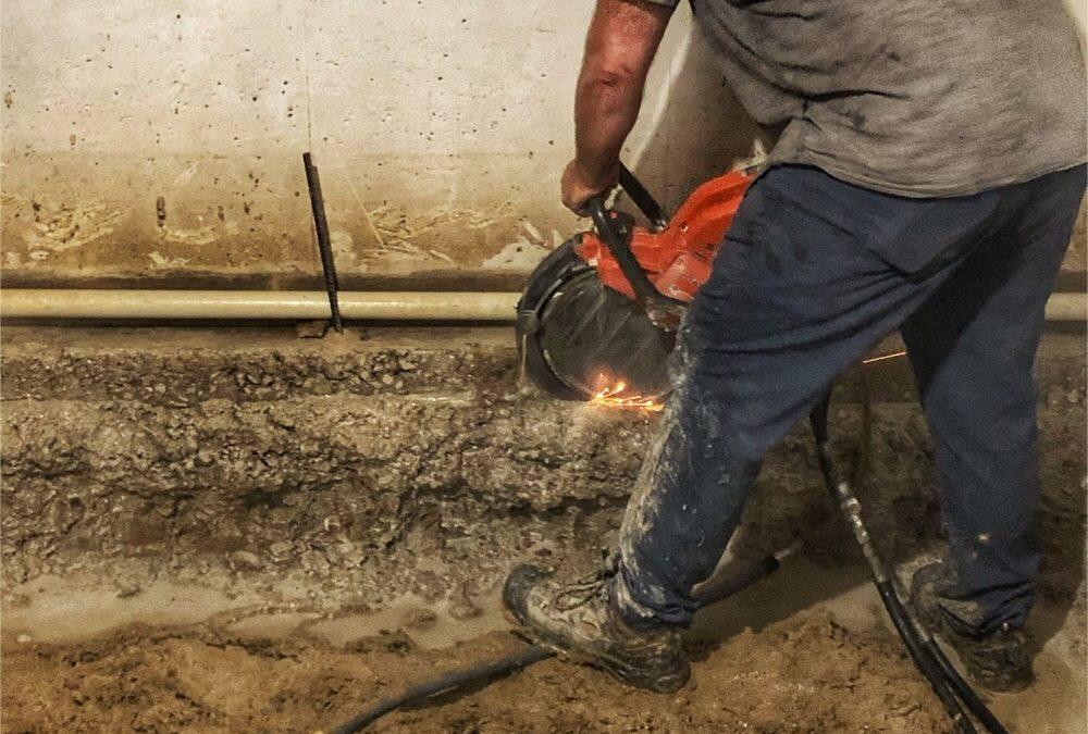 Cutting A Concrete Foundation.